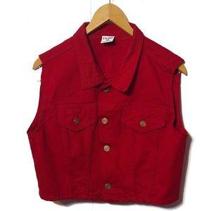 Vintage Encore Size Medium Red Denim Vest